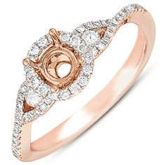 Israel Diamond Official Website  Rose gold Prong set halo style engagement ring, with twist shank.   http://israeldiamond.com/?page=detail=EN7365-1RG#