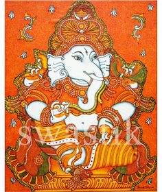 Ganesha...acrylic  on  canvas  #keralamuralpaintings #muralart  #muralpaintings # paintings # temple art #swastikmuralpaintingsguruvayur