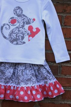 Appliqued Mouse Top...Ready for Delivery...Size 18m, 2, 4, 6 and 8. $24.00, via Etsy.