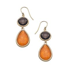 OroClone Gold Rose Aventurine and Smoky Quartz Double Drop Earrings ($45) ❤ liked on Polyvore featuring jewelry, earrings, jewelry earrings, fashion jewelryearrings, matte gold earrings, smokey quartz earrings, gold jewelry, gold drop earrings and round drop earrings