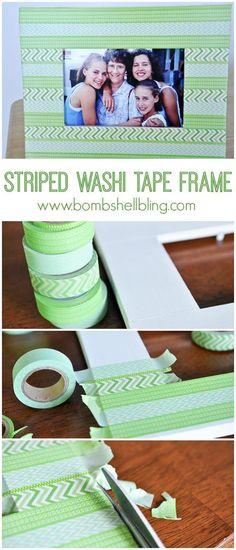 DIY Washi Tape Design Ideas | Striped Washi Tape Frame by DIY Ready at http://diyready.com/100-creative-ways-to-use-washi-tape/