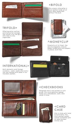 #Fossil Mens Money Management. Here's a breakdown of this season's most functional and stylish men's leather styles. #infographic #wallets