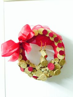 """""""rudolph style"""" wreath with corks for xmas"""
