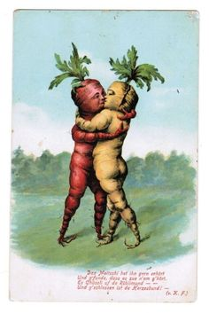 How vegetables make love. Postcard from the Fruit Art, Vintage Valentines, Looks Cool, Vintage Art, Weird Vintage, Vintage Food, Vintage Postcards, Cover Art, In This World