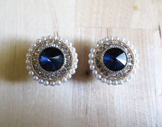 2g  5/8 6mm19mm / Blue Rhinestone Pearl / Plugs by LotusCovePlugs, $26.00