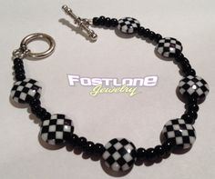 Racing Jewelry- Checkered Flag Beaded Toggle Bracelet by Fastlane Jewelry