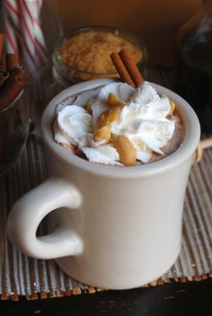 Fluffernutter Hot Chocolate with Roasted Salted Peanuts