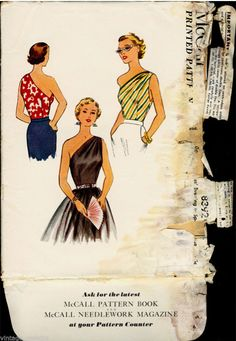 1950s sewing pattern illustration - I made a top using this and some feedsack fabric