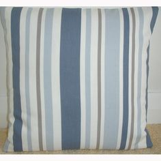 18x18 Pillow Cover Blue Brown and Cream Stripes 18 by pipdesigns