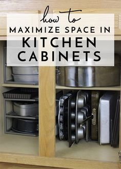Maximize Space in Your Kitchen Cabinets: great storage ideas for small kitchen s. - Maximize Space in Your Kitchen Cabinets: great storage ideas for small kitchen spaces - Small Kitchen Organization, Diy Kitchen Storage, Storage Cabinets, Home Organization, Small House Storage Ideas, Small Space Storage, Ideas For Storage, Organization For Kitchen Cabinets, Kitchen Cabinet Organizers
