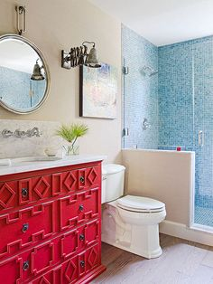 Personalize a bathroom or powder room with these creative ideas for mixing and matching your favorite colors: http://www.bhg.com/bathroom/color-schemes/colors/bathroom-color-ideas/?socsrc=bhgpin021715cherryredbathroom&page=8