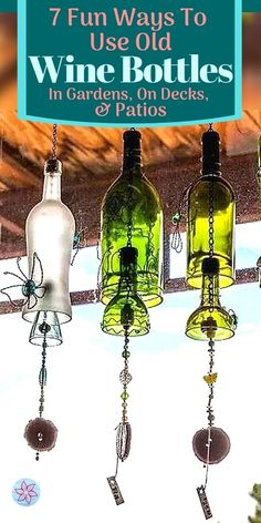 Old Wine Bottles, Wine Bottle Art, Liquor Bottles, Wine Bottle Crafts, Bottles And Jars, Glass Bottles, Wine Bottle Windchimes, Easy Diy Crafts, Jar Crafts