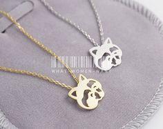Adorable Raccoon necklace, bear necklace, raccoon necklace, christmas