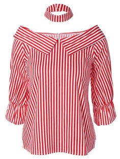 Only US17.54, buy ONE SIZE stripe choker off the shoulder blouse Red at online blouses shop, sammydress.com Mobile.