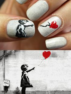 Nail Polish Society: Banksy - balloon girl #nail #nails #nailart