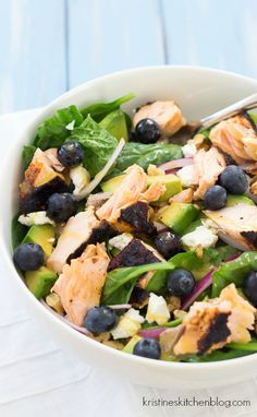 This Salmon Power Salad is a healthy dinner, full of health-boosting superfoods! | Kristine's Kitchen