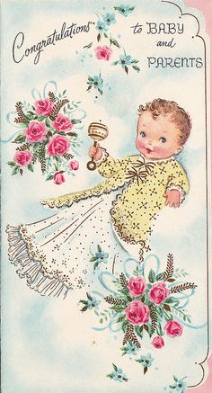 Vintage Greeting Card - Baby by jerkingchicken, via Vintage Greeting Cards, Vintage Postcards, Baby Illustration, Illustrations, Images Vintage, Old Cards, Vintage Nursery, Vintage Holiday, Baby Cards