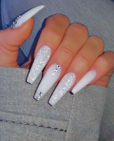 white nails with rhinestones ~ white nails . white nails with designs . white nails with glitter . white nails with rhinestones . White Coffin Nails, Coffin Nails Long, Coffin Nails Glitter, Long Gel Nails, Matte Nails, Stiletto Nails, Cute Acrylic Nail Designs, Best Acrylic Nails, White Acrylic Nails With Glitter