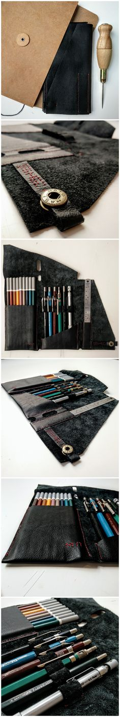 Handcrafted one-pice-cut leather pencil-case | DIY | Handmade
