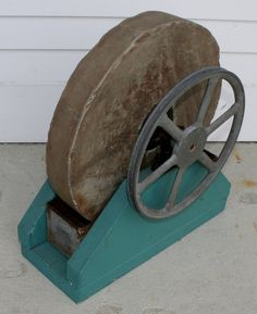 Vintage Stone Grinding Wheel with Aqua Base by MorningbirdFinds, $65.00