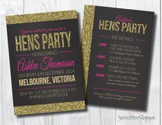 Hens Party Invitation: Hens Night Invite with Gold Glitter Effect    This fabulous hens party invite is available with an optional back side for