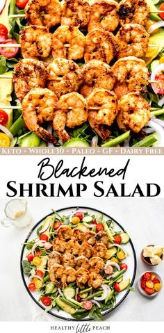 A filling and satisfying salad filled with crisp lettuce, blackened shrimp, cucumbers, tomatoes, and red and green onions drizzled with my homemade Citrus Herb Dressing. 8 NET Carbs per salad #blackenedshrimpsalad #shrimprecipes #shrimpsalad #whole30recipes #ketorecipes #ketosalads #keto #whole30