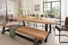 Solid wood table upscale in 27 photos! Solid wood table upscale in 27 Living Room Bench, Dining Table With Bench, Dining Room Table, Table And Chairs, Living Rooms, Grande Table A Manger, Solid Wood Table, Industrial Table, Wooden Tables