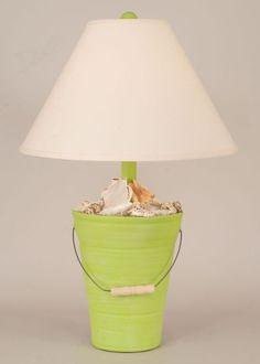Bright Green Beach Bucket Shell Lamp
