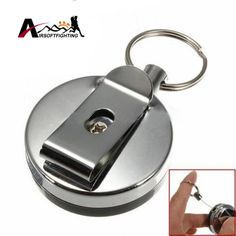 Retractable Metal Card Badge Holder Steel Ring Belt Clip Pull Security Key Chain Outdoor Emergency Anti-thief Survival Kits