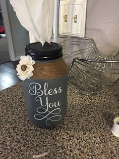Mason Jar/Tissue Holder - Fabric Crafts To Sell Pot Mason, Ball Mason Jars, Mason Jar Gifts, Mason Jar Diy, Wine Bottle Crafts, Jar Crafts, Chalk Crafts, Vinyl Crafts, Fabric Crafts