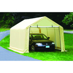 x 17 ft. Portable Shed, Garage or Car Shelter > All steel in. diameter tubular frame Weather-resistant cover with zinc plated eyelets to resist rust UV treated to prevent fading Shed House Plans, Wood Shed Plans, Diy Shed Plans, Storage Shed Plans, Building A Carport, Carport Canopy, Carport Garage, Building Plans, Portable Sheds