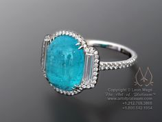 Paraiba Tourmaline Three Stone Ring by Leon Mege    For more info go to: http://artofplatinum.com/vault/paraiba-ring