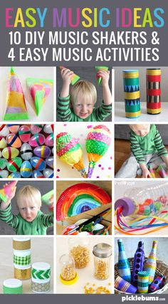 musical with your kids - it doesn't have to be hard! Try these 10 DIY music shaker ideas and 4 easy music activitiesGet musical with your kids - it doesn't have to be hard! Try these 10 DIY music shaker ideas and 4 easy music activities Music For Toddlers, Music Lessons For Kids, Toddler Music, Toddler Class, Toddler Activities, Preschool Activities, Music Activities For Kids, Preschool Music Crafts, Music Therapy Activities