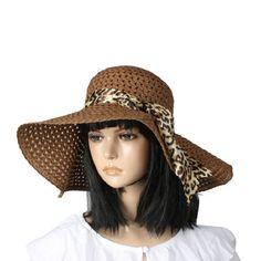 Allegra K Wide Brim Plastic Stitched Straw Hat Sunbonnet Cap Brown for Lady $5.51 #topseller