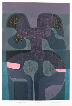 Solar Night Form - Peter Green - woodcut and stencil print – St. Jude's Prints