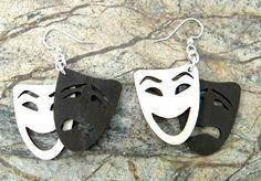Tragedy comedy  laser cut wood earrings by GreenTreeJewelry, $12.95