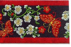 """Red Butterfly (wide)    Width: 2-1/2"""" Pattern repeat: 6""""  Priced per ft. (12 inches).    Item #:  4573D-60-Col  Price:  $6.70 Red Butterfly, Sewing A Button, Red Flowers, Red And Blue, Folk, Ribbon, Embroidery, Repeat, Pattern"""