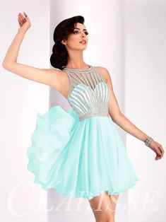 Short flowy open back pastel mint homecoming dress, sweet sixteen dress | Promgirl.net