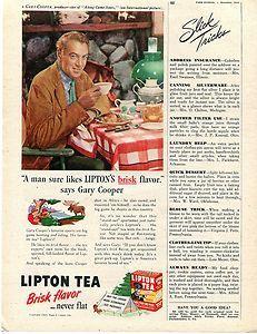 1945 Lipton Tea Brisk Flavor Gary Cooper Hunting & Camping Ad