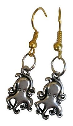 These delightfully fun earrings feature silver colored steampunk octopus on golden colored fishhooks. Earrings are designed for pierced ears and the fish hooks are nickel free for sensitive ears. Created and sold exclusively by Lil Miss Marmalade.