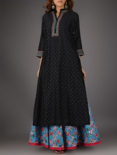 Buy Black Nehru Collar Cotton Kurta with Embroidery and Slip (Set of 2) Online at Jaypore.com