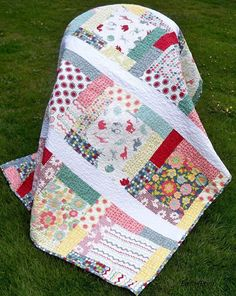 Hullabaloo handmade quilt 68 x 56 with Urban Chiks fabrics from Moda big blocks