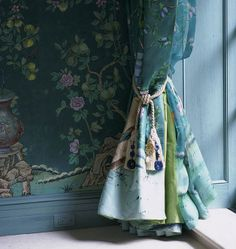 Chinoiserie Style wallpaper and fabric in Teal Blue Dulux's color of the year 2014