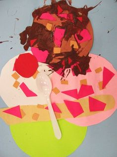 Ice Cream sundaes with circles, ovals, squares, rectangles, triangles, semicircle, chocolate sauce