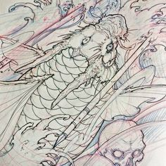 "2,036 lượt thích, 3 bình luận - David Hoang (@davidhoangtattoo) trên Instagram: ""Dragon koi sketch. #chronicink #asiantattoo #asianink #irezumi #tattoo #sketch #koi #drawing…"""