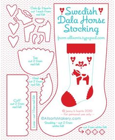 Stocking2    Freebie pattern ~ Swedish Dala Horse Stocking  applique ... woud look rich made of wool