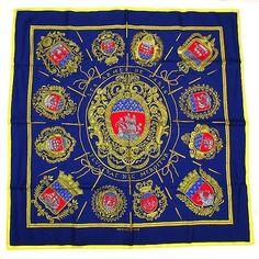 GENUINE Hermes Marine Blue 100% silk scarf  L' armes de Paris FREE SHIP! #Hermes #Scarf