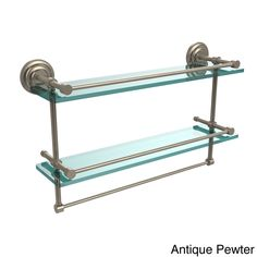 Allied Brass Que New Collection 22-inch Gallery Double Glass Shelf with Towel Bar (Antique