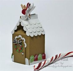Cardstock Gingerbread house Stampin' Up! Style ... could do this with the Cricut                    Could see adapting this for paper bags