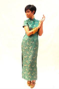 Vintage 70er Jahre Cheongsam Smaragdgrün von MojoPiece auf Etsy